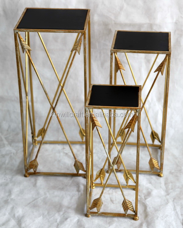 antique gold finish S/3 living room arrow wrought iron/metal Plant Stand