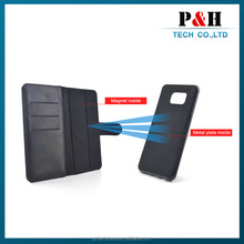 Wallet style Magnetic flip stand genuine leather case for samsung galaxy s4 SIV I9500 with card slots