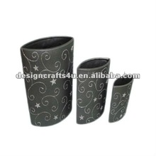 tall oval black ceramic plant pots set for outdoor