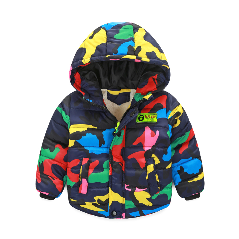 New Frozen Winter Jacket for Unisex Baby Thick Warm Baby Camouflage Jacket