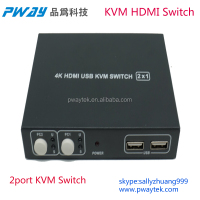Pinwei 2 Port Auto USB HDMI KVM Switch with 2 HDMI Cables Switch by Push Button Hotkey