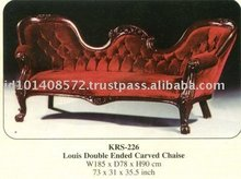Louis Double Ended Carved Chaise Mahogany Indoor Furniture.