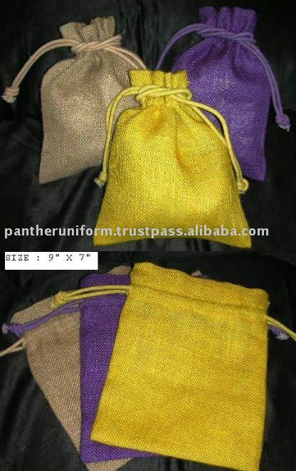 Gift packaging bag with cotton drawstring