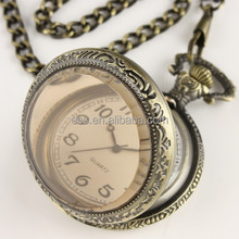 WP013 New Mens White Dial Antique Pocket Watch with Chain Quartz Pocket Watch