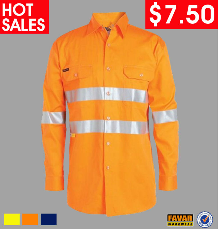 100% cotton Orange Long Sleeve Work Shirt High Vis Work Shirt Reflective Safety Shirt