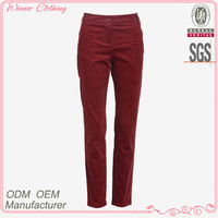 Cotton velvet high waist 2015 ladies' fashion high quality manufacturer ladies high waist pants