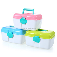 Red First Aid Clear Container Bin Family Emergency Kit Storage Box with Detachable Tray