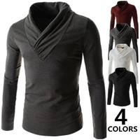 2015 New fashion pure color long sleeve tees men's T-shirts M-XXL