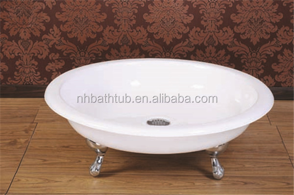 Freestanding square enameled cast iron shower tray/pan
