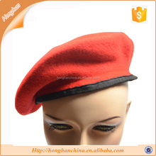 Plain red colour wool military beret