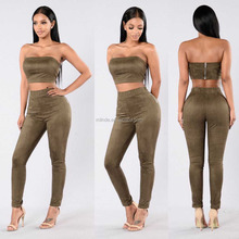 2 Piece Matching Suede Set 100% Polyester Tube Top And Skinny Leg Pants Suits Top Matching Supplier