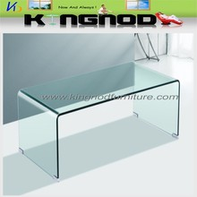 Tempered Modern Round Corner Clear Bevel Edge Bent Glass Center Table