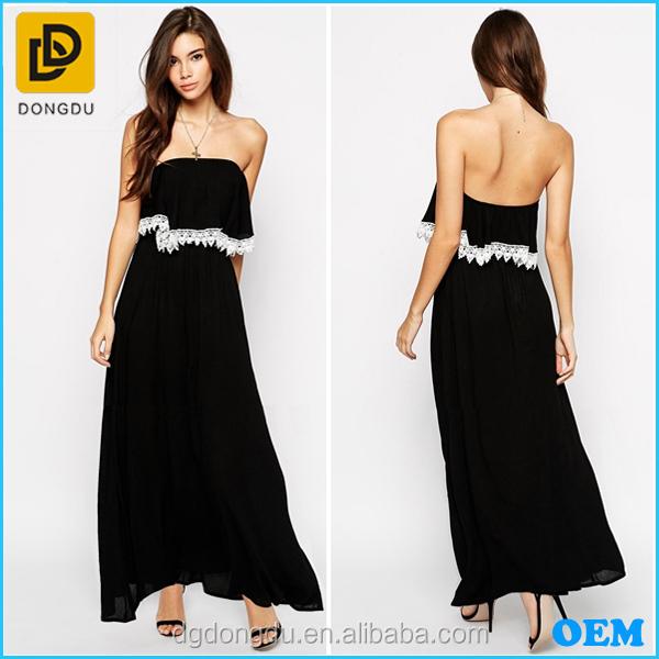 Glamorous Petite Bandeau Maxi Dress Fashion Long Maxi Dress With Lace Trim