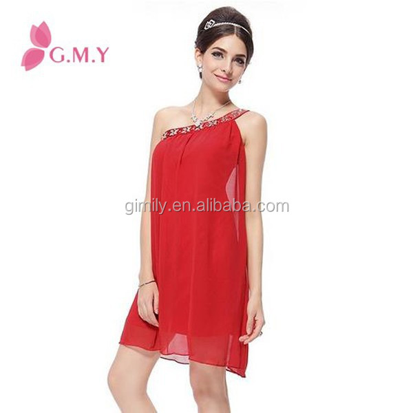 summer adult beaded chiffon one shoulder pattern red dress sexy