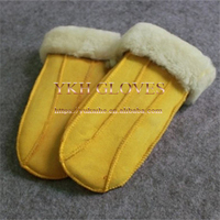 Ladies Shearing Sheepskin Fur Leather Mittens