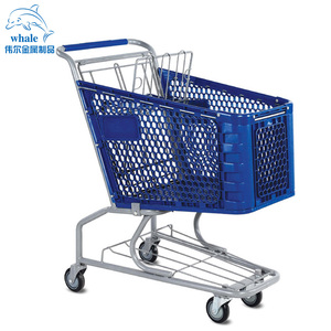 America style plastic and metal supermarket shopping trolley cart