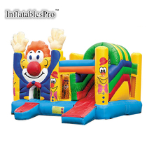 Commercial combo jumping castle with slide for clown theme party