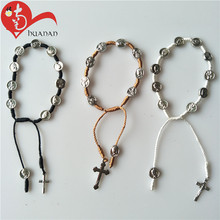 Huanan Handmade Saint Alloy Bead Catholic Knitted Cross Twisted Cord Bracelet