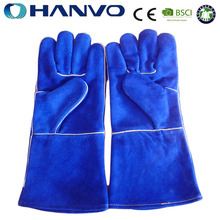 HANVO Blue Cow Leather Welding Protective Gloves