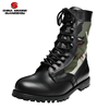 Military tactical split leather woodland camouflage fabric Army combat boots