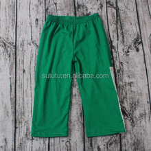 China supplier Latest fashion girls denim chambray green pants with cotton lace softtextile icing baby leggings