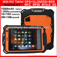 rugged IP67 built-in gps quad core tablet pc 15000mah battery