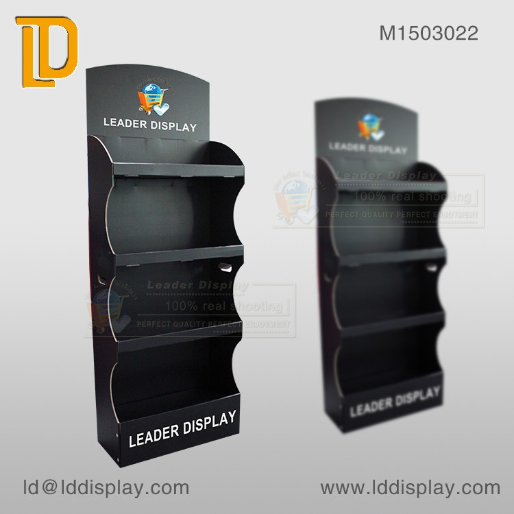 Cardboard pop up floor stand display,matte black printing floor shelf display,supermarket floor display stand