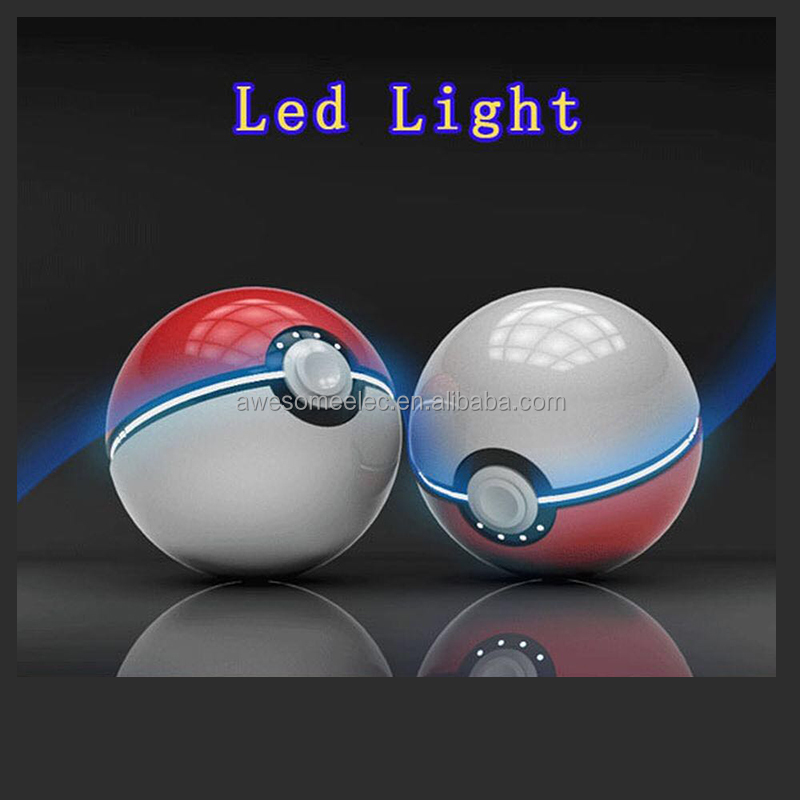 (2016 NEW Arrival) Best Quality Pokemon Go Ball Power Bank 12000mA Chager With LED Light For Pokemon Go AR Games