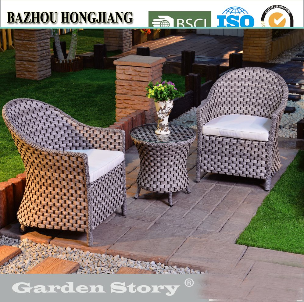 HJ-100S-2 Outdoor garden furniture Sofa set and round Coffee Table gray rattan/wicker furniture