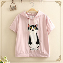 Short cat pattern printed T-shirt with hood for girl
