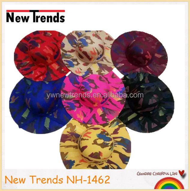 Colorful camouflage printing wool felt wide brim hat