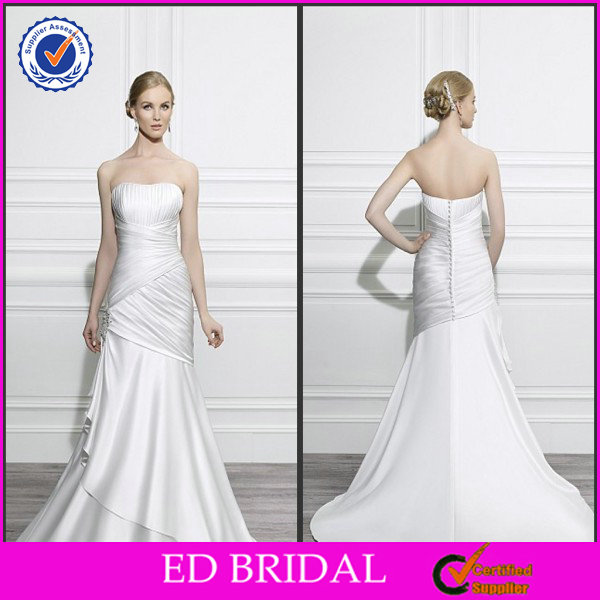 2014 Attractive Simple Design Sheath Strapless Chiffon Ruffle Wedding Dresses For Mature Women