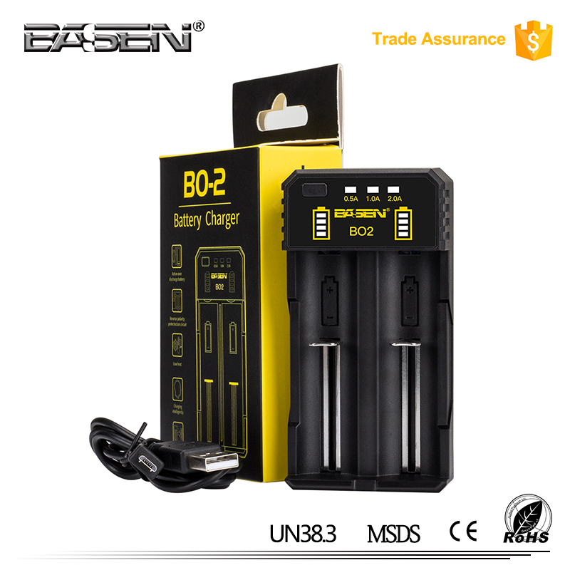 Cheapest dual wholesale Basen BO2 lithium aa aaa nimh charger for 18650 26650 18350 14500 16340 cell