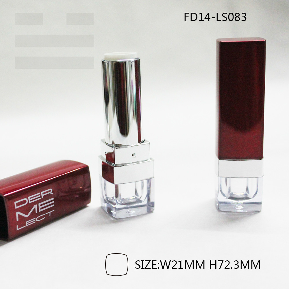 2015 new brand luxury red square empty lipstick tube with transparent bottem for sexy young girl