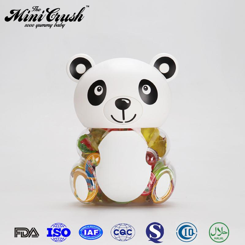 FDA certification plastic panda candy jar candied fruit jelly candy for kids toys
