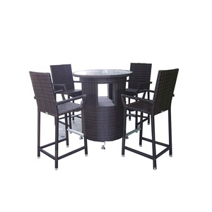 Best price custom outdoor cheap wicker rattan bar table and chair sets