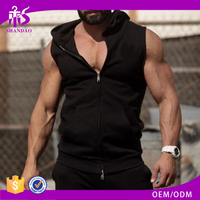 Guangzhou Shandao Most Popular Wholesale Gym Exercise With Hood Sleeveless Strong Muscle Men bcg sportswear