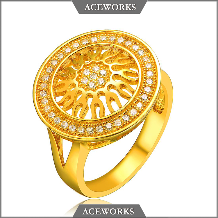 RN4205 Aceworks 925 sterling silver jewelry simple design gold plated sun shape rings