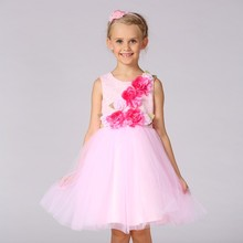 Latest dubai fashion girls party dress child wear big flower appliqued evening dress wholesale T293