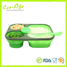 Microwave Dishwasher Safe 3-compartment Silicone Collapsible Lunch Box with Lid 900+200+200ML , Foldable Food Container