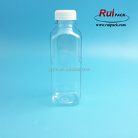 500ml 16oz plastic clear bottle for juice with tamper ring cap, drinking juice 16oz