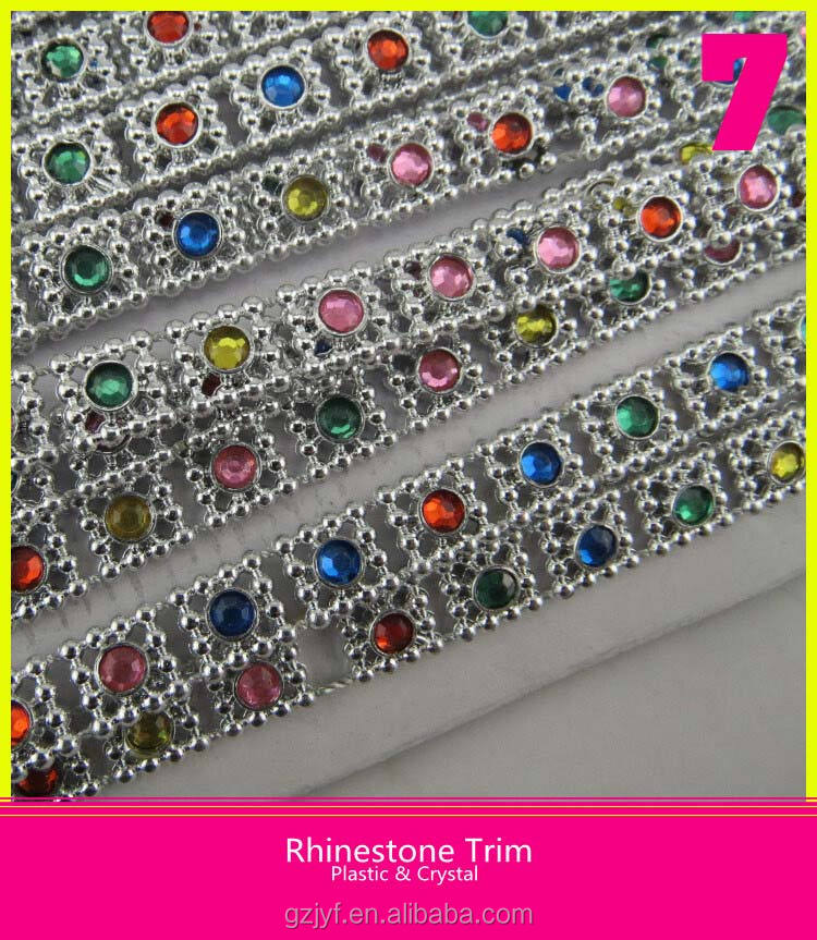 Hot Sale Silver Plastic Base Rhinestone Trim With Colorful Stone Round Loose