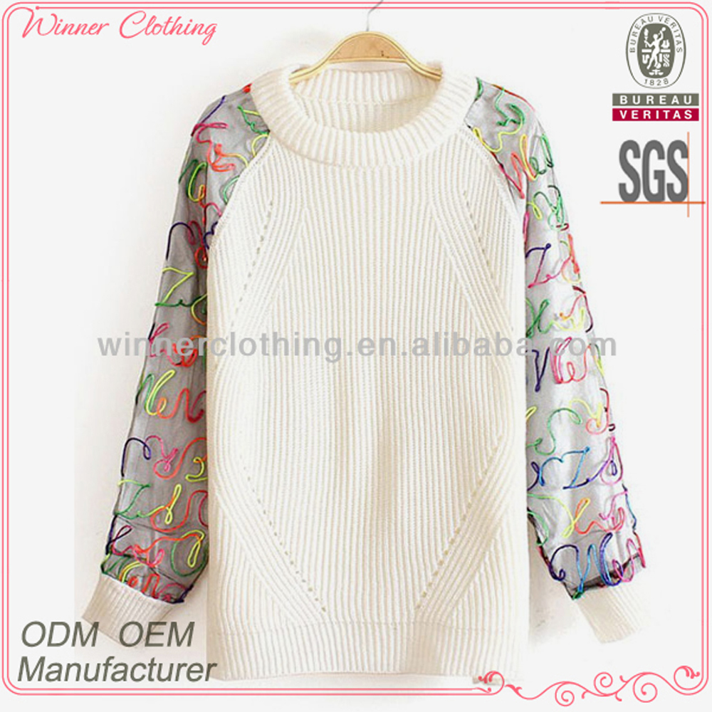 Women's high fashion latest design knitted long sleeve top