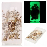Skull Luminous soft TPU cell phone case for Samsung Note 7 translucent mobile back cover accessories