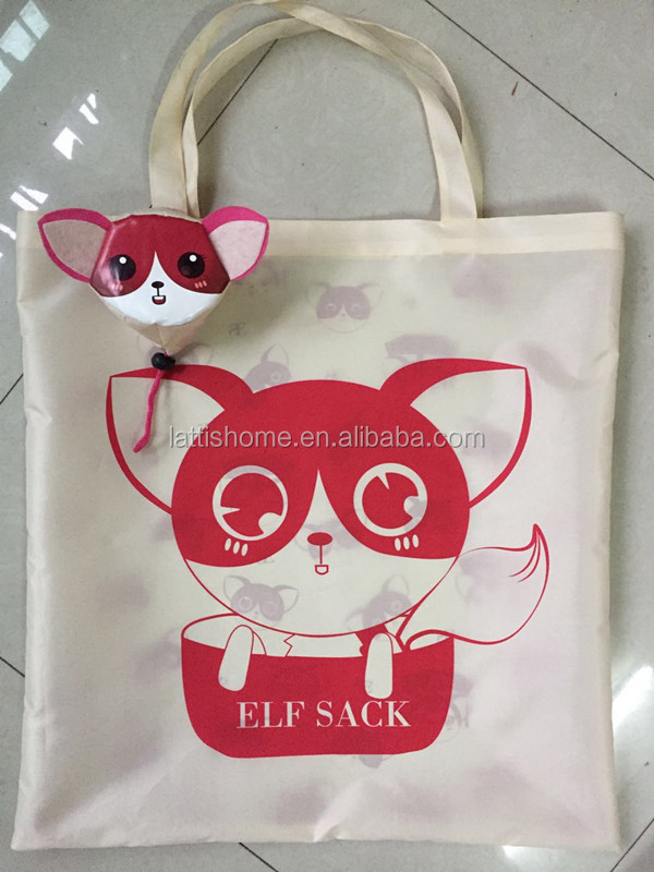promotional Pink Cartoon cat digital printed shopping bags for child/kids