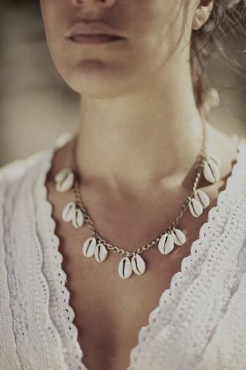 Fashion Natural Shell Pendant Necklace Collarbone Choker Necklace for Women