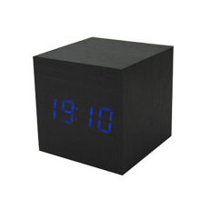 WB MX1293 Cube LED Digital Alarm Clock Square Modern Wood Clock with Thermometer Temp Date Display Calendars Desk Table Clock