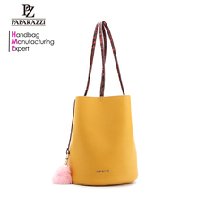 7898-With snake skin trim grained PU ladies hot sale mustard color bucket bags