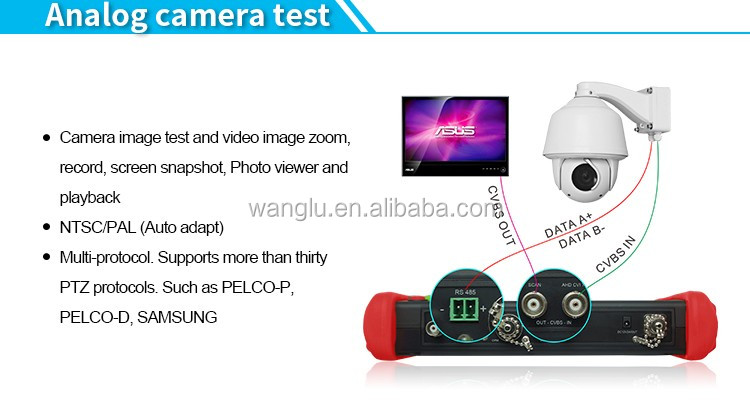 7 inch touch screenHigh quality 6 in1 cctv tester IPC/AHD/CVI/TVI/SDI/analog all in one tester