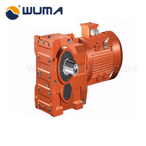 Speed reduction bevel helical gear motors with solid shaft output